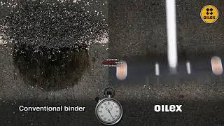 Oilex absorbs oil on asphalt