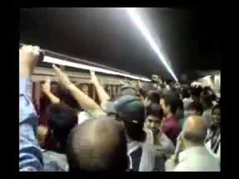 Mousavi supporters protest in a train station