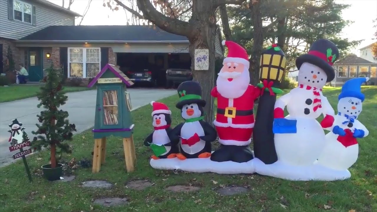 how to set up a christmas inflatable yard decoration