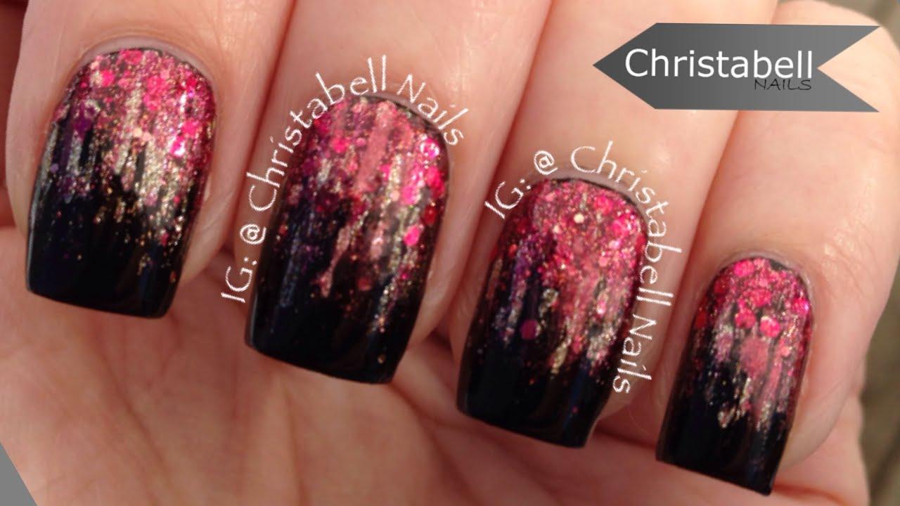 Black Pink And Silver Wallpaper Christabellnails Waterfall Glitter Gradient Nail Art