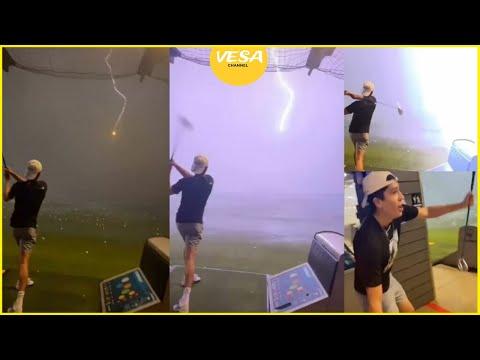 Impresiona verlo: un rayo impacta con una pelota de golf