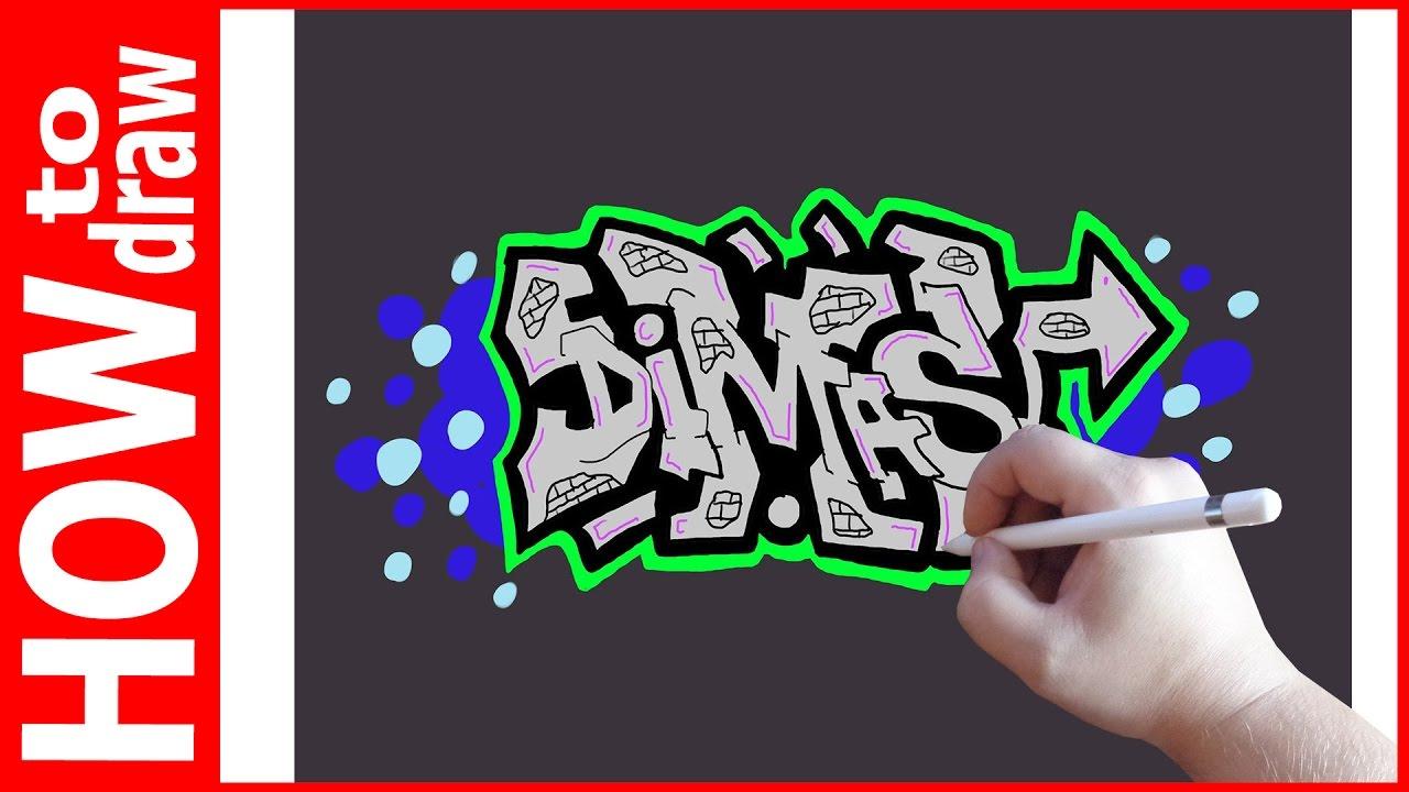 How To Draw Graffiti Name Dimas