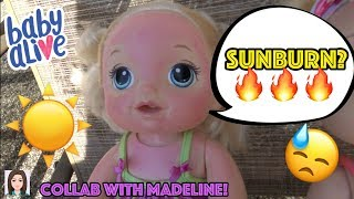 Baby Alive Gets Sunburned! Emma Fakes A Sunburn? Collab With BabyDollsAreMyThing!