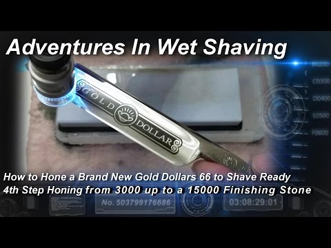 How to Hone a Brand New Gold Dollar 66, Honing from 3000 up to a 15000 Finishing Whetstone Part 4