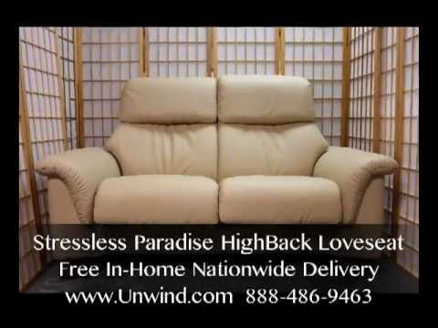 stressless paradise loveseat latte batick leather free in home delivery youtube. Black Bedroom Furniture Sets. Home Design Ideas