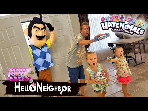 Hello Neighbor in Real Life Statues! Hatchimals CollEGGtibles Toy Scavenger Hunt!!! thumbnail