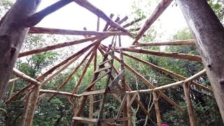 Off Grid Roundhouse Build Part4 Reciprocal Frame Roof