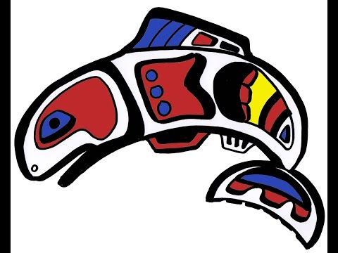 Abstract Native American Salmon Age 7-9