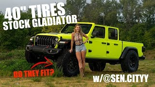 """Will 40"""" Tires Fit a STOCK JT GLADIATOR & Sen.Cityy Sarah Photoshoot for ShockerRacing"""