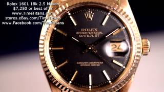 rolex datejust 1601 18k yellow gold 2 5 million 1968 charcoal dial caliber 1560 rare
