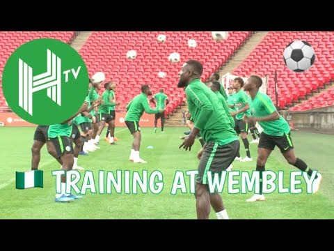 Nigeria training session at Wembley stadium before England c