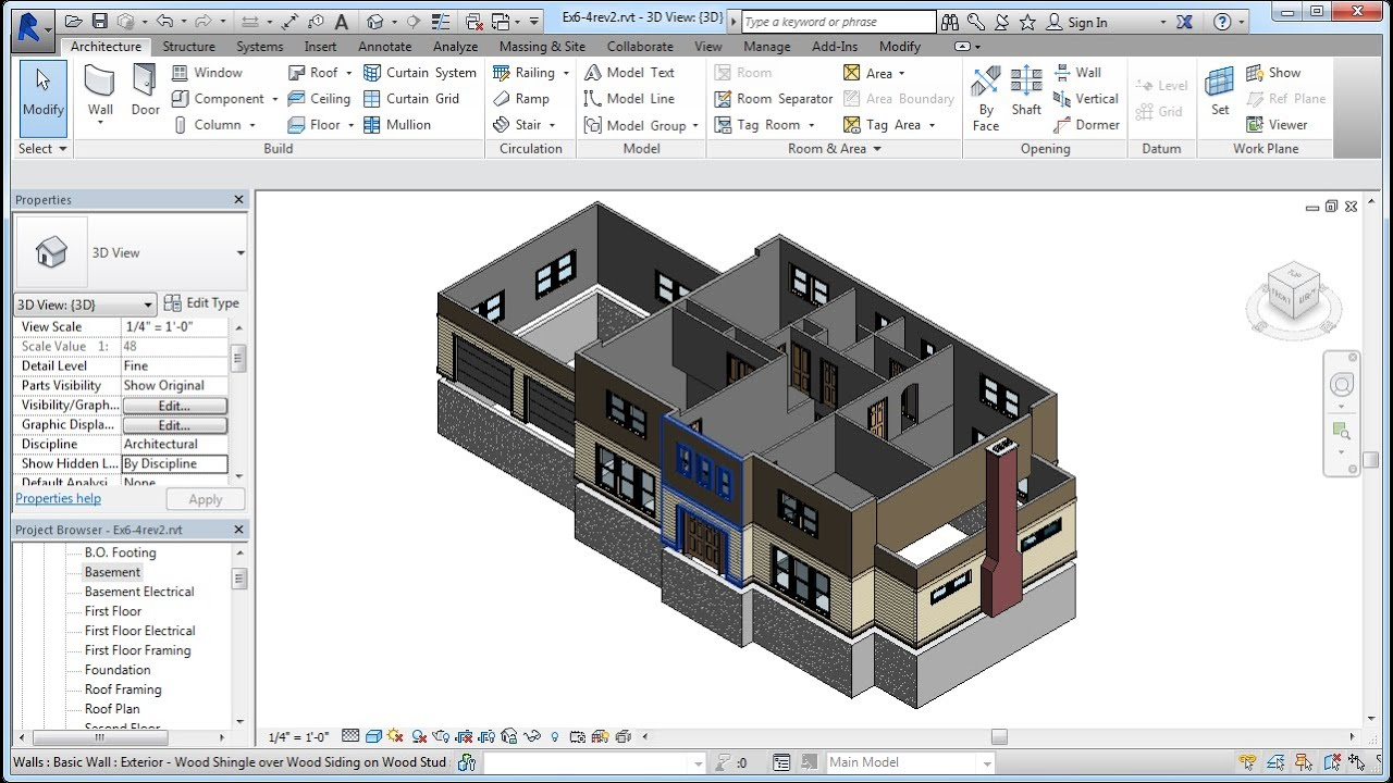 Jensen 39 s residential design using revit 2014 ch06 4 for Basement planner online