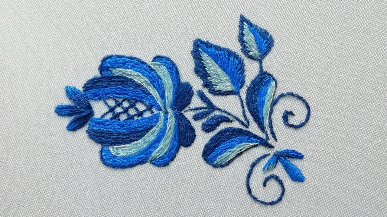 Цветочная вышивка : Гжель | Floral Embroidery : Gzhel