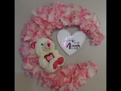 DIY Dollar Tree Crescent Moon Valentine's Day, Baby Shower, Nursery Wreath
