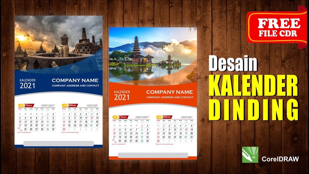 Desain Kalender Dinding 2021 dengan Coreldraw - (Free CDR ...