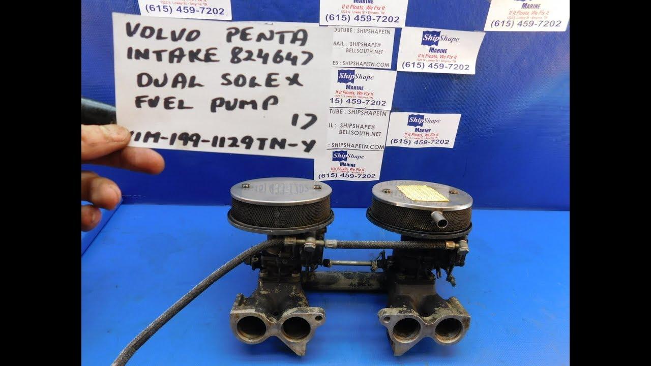 FOR SALE - Volvo Penta Intake Dual Solex Carbs AQ130 824647 $199 95 G-3