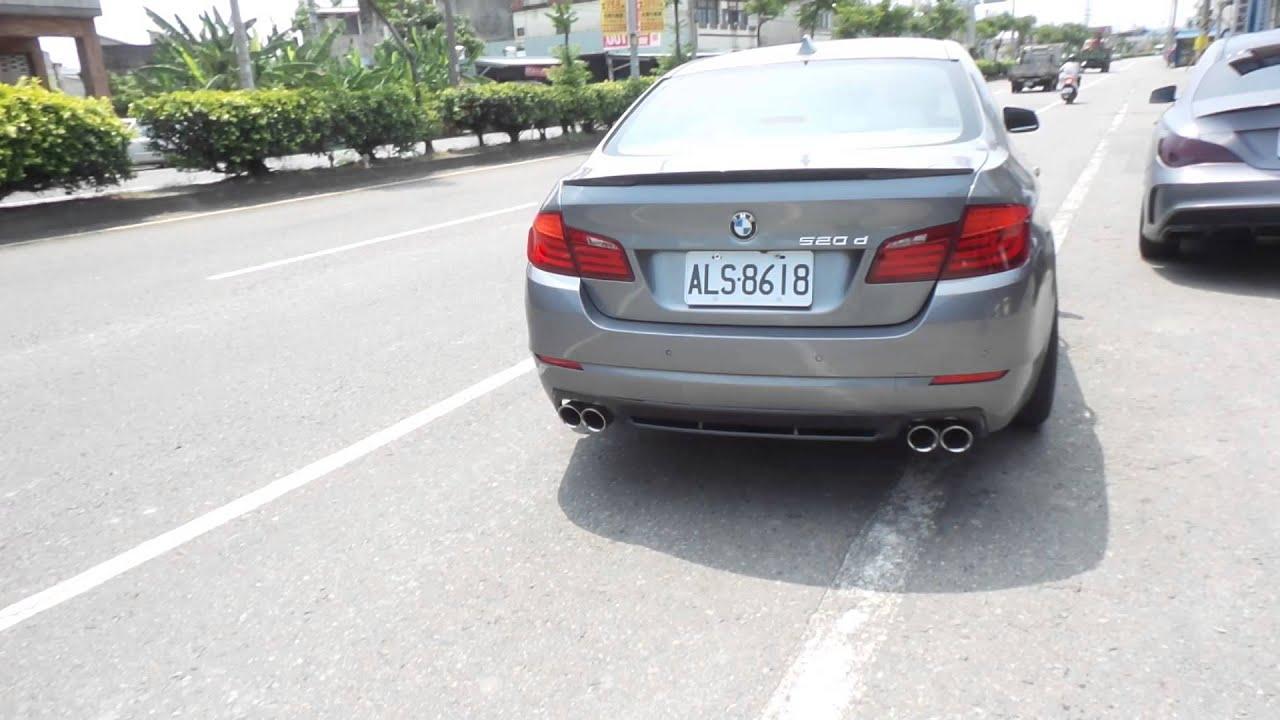 BMW F10 520D 鐵灰柴油改裝Q桑~排氣舘 專業設計 尾段雙邊雙出樣式排氣管 - YouTube
