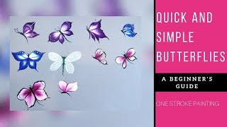 Quick And Easy Butterflies Acrylic Painting Beginners Painting Ideas Diy Youtube
