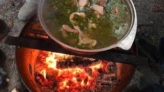 Царская Уха из лосося. Как приготовить вкусную уху на костре.