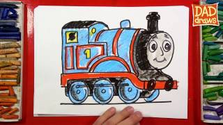 How to Draw Thomas the Train Step by Step - Thomas and Friends - art for kids