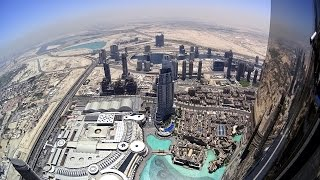 Crazy 4K Action Cam view over the edge from Burj Khalifa in Dubai