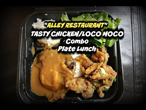 """Lets try """"Alley Restaurant"""" Plate lunch combo, Oahu, Hawaii"""
