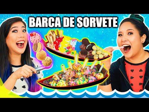 SUPER BARCA DE SORVETE CHALLENGE! - Desafio do sorvete | Blog das irmãs
