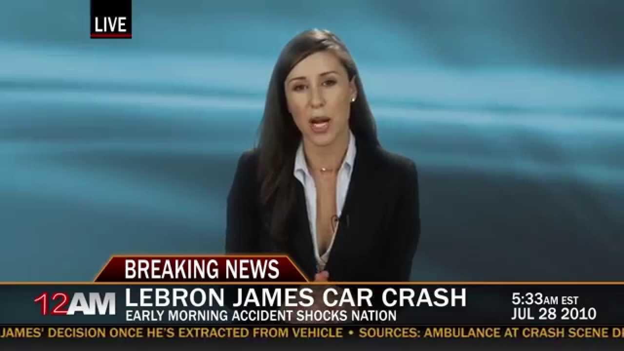 lebron james car crash news report - youtube