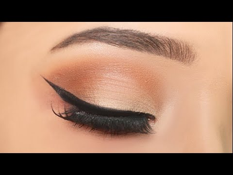 Simple everyday eye makeup with winged eyeliner|| How to apply eyeshadow step by step for beginners
