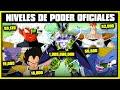NIVELES DE PODER OFICIALES POCO CONOCIDOS DE DRAGON BALL SUPER | Z | ANZU361