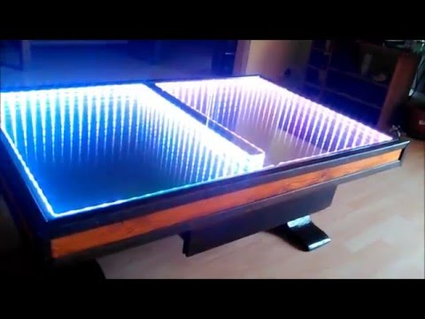 Miroir infini sur table basse 39 fait maison 39 self made - Table basse lumineuse led moonlight ...