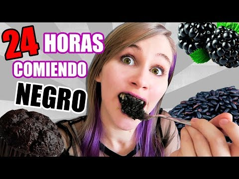 24 HORAS COMIENDO NEGRO   All Day Eating Black Food Challenge