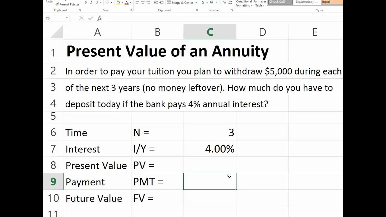present value of ordinary annuity in excel youtube
