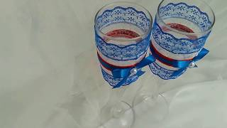 Свадебный декор: бокалы. Украшение своими руками из кружева и лент.