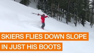 Skier Flies Down Slope in Just his Boots