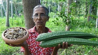 Village Foods ❤ Luffa with Dry fish Recipe prepared in my Village by Grandma