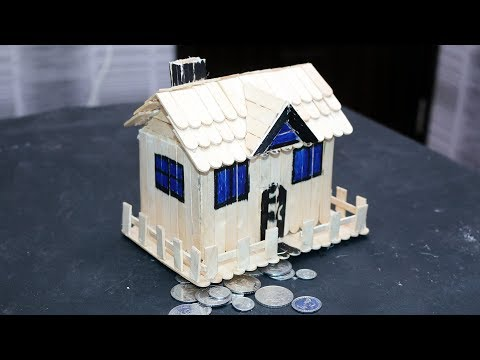 How to Make Popsicle Stick House Coin Bank Box