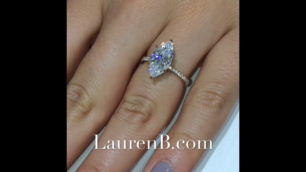 3 Carat Marquise Cut Moissanite Engagement Ring Youtube