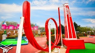 THE BEST MINI GOLF COURSE EVER! - TRIPLE HOLE IN ONE AND CRAZY HOLES!