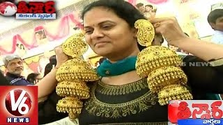GRT Jewellers Made Gold Earrings Weighing 1KG | Teenmaar News - V6 News