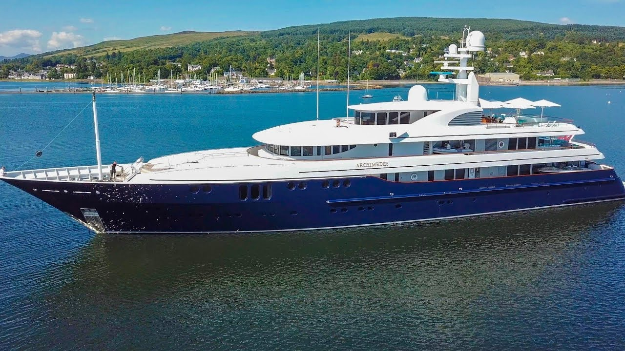 """$100m Super Yacht """"Archimedes"""" - Rhu Marina - Scotland - Cinematic drone footage"""