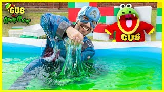 Captain America filled the Pool with SLIME!! Swimming Pool Pretend Play!