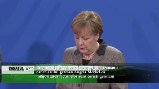 Premierul turc Ahmet Davutoglu i-a transmis  cancelarului german Angela Merkel că majoritatea victim