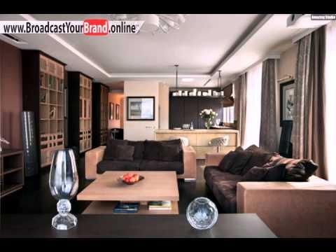 Wohnzimmer Küche Zusammen Holzmöbel Braun Beige Farben
