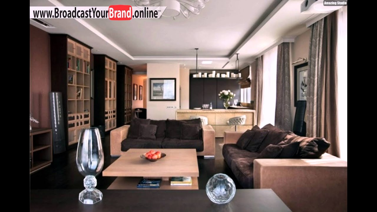 wohnzimmer k che zusammen holzm bel braun beige farben youtube. Black Bedroom Furniture Sets. Home Design Ideas