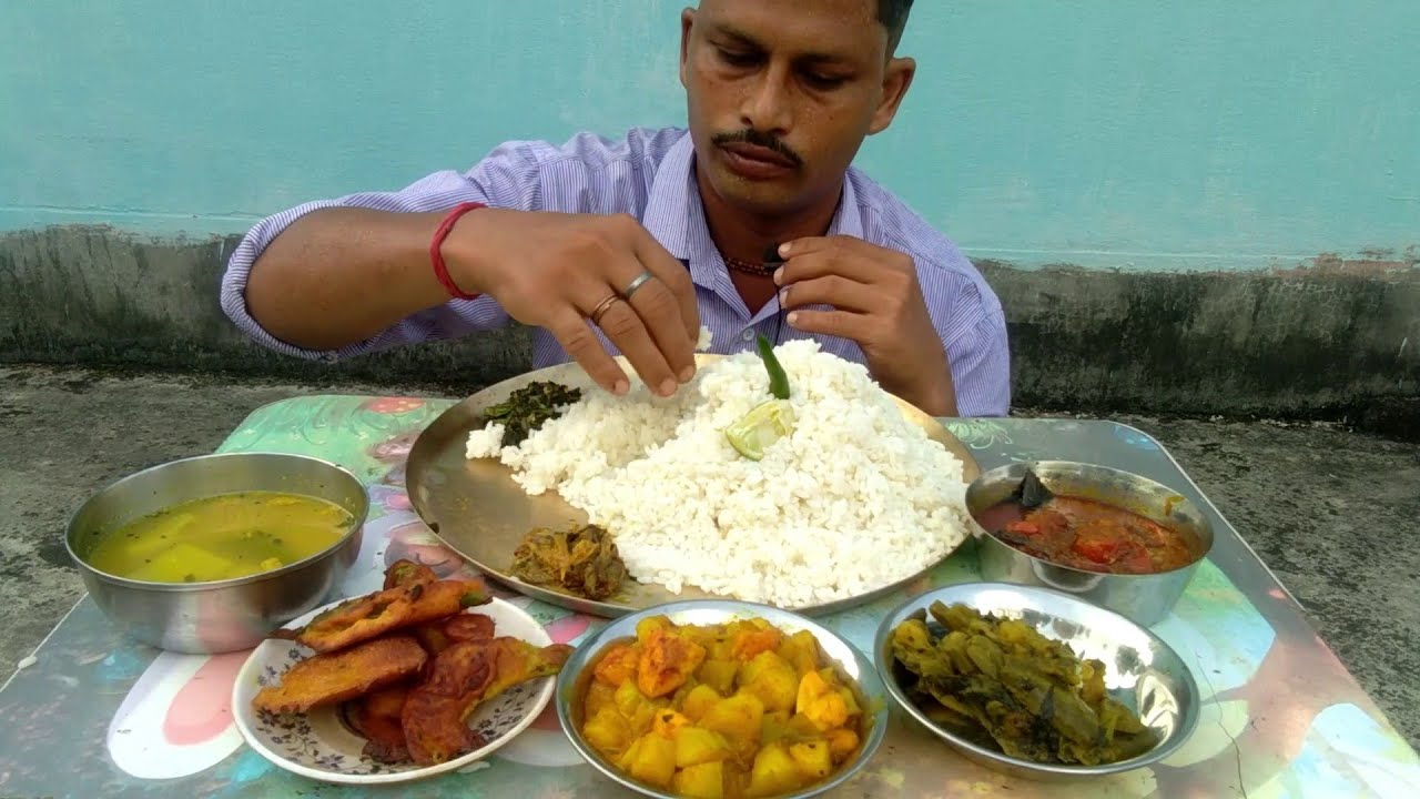 Rice Master Again Eating Huge Food - Bok Flower Fry - Pangas Fish Curry - Potato Egg & Poppy Seeds