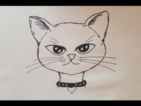 How To Draw A Cute Kitten Face In 5 minute | Drawing Cat ...