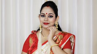 Traditional Bangali Look For Durga Puja || Astomi Special Look