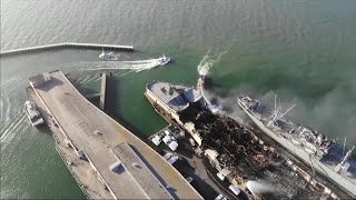 Raw Video: Drone Flies Over Sf's Fisherman's Wharf Fire Devastation