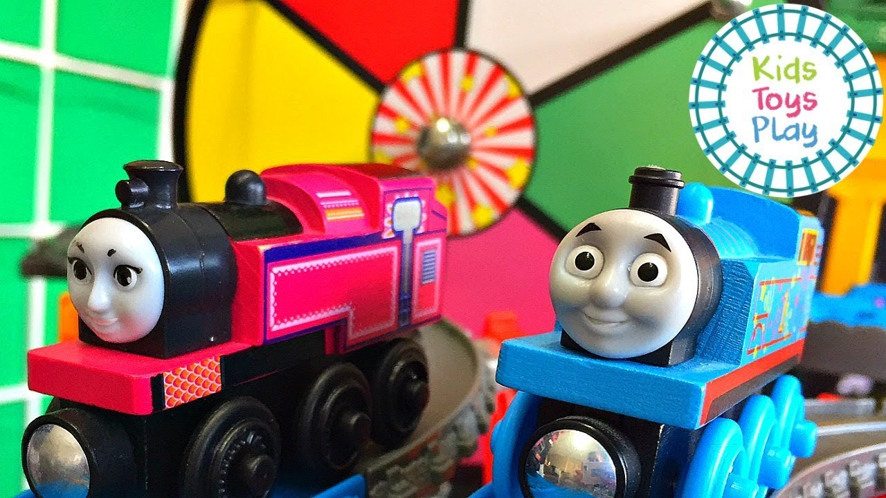 Thomas and Friends Wooden Railway Train Races | Thomas Train Super Station Mystery Prize Wheel
